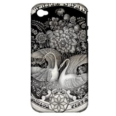 Swans Floral Pattern Vintage Apple iPhone 4/4S Hardshell Case (PC+Silicone)