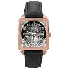 Swans Floral Pattern Vintage Rose Gold Leather Watch