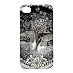 Swans Floral Pattern Vintage Apple Iphone 4/4s Hardshell Case With Stand