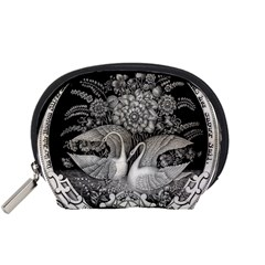 Swans Floral Pattern Vintage Accessory Pouches (small)