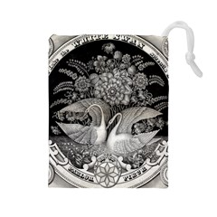 Swans Floral Pattern Vintage Drawstring Pouches (large)