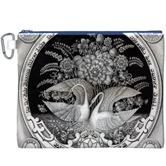 Swans Floral Pattern Vintage Canvas Cosmetic Bag (XXXL)