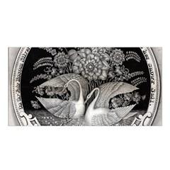 Swans Floral Pattern Vintage Satin Shawl