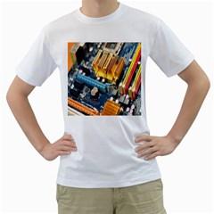 Technology Computer Chips Gigabyte Men s T-Shirt (White) (Two Sided)