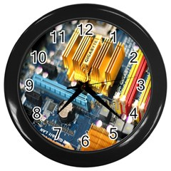 Technology Computer Chips Gigabyte Wall Clocks (Black)