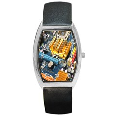 Technology Computer Chips Gigabyte Barrel Style Metal Watch