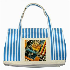 Technology Computer Chips Gigabyte Striped Blue Tote Bag
