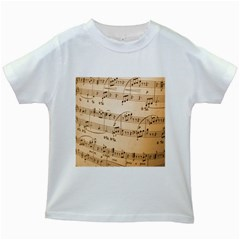 Music Notes Background Kids White T-Shirts