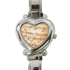 Music Notes Background Heart Italian Charm Watch