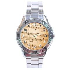 Music Notes Background Stainless Steel Analogue Watch