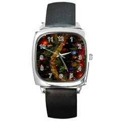 Night Xmas Decorations Lights  Square Metal Watch