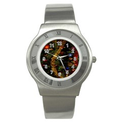 Night Xmas Decorations Lights  Stainless Steel Watch
