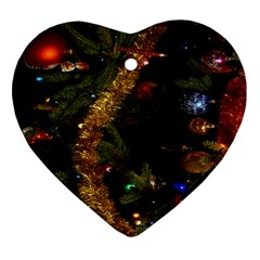 Night Xmas Decorations Lights  Heart Ornament (Two Sides)