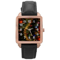 Night Xmas Decorations Lights  Rose Gold Leather Watch
