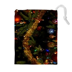 Night Xmas Decorations Lights  Drawstring Pouches (Extra Large)