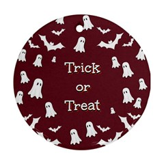 Halloween Free Card Trick Or Treat Ornament (Round)