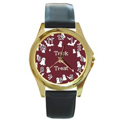 Halloween Free Card Trick Or Treat Round Gold Metal Watch