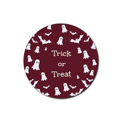 Halloween Free Card Trick Or Treat Rubber Coaster (round)