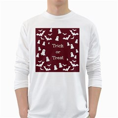 Halloween Free Card Trick Or Treat White Long Sleeve T-Shirts