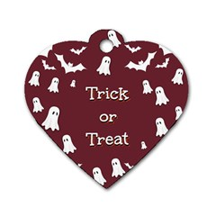 Halloween Free Card Trick Or Treat Dog Tag Heart (Two Sides)