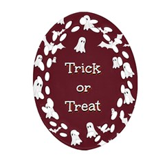 Halloween Free Card Trick Or Treat Oval Filigree Ornament (two Sides)