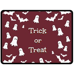 Halloween Free Card Trick Or Treat Double Sided Fleece Blanket (Large)