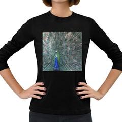 Peacock Four Spot Feather Bird Women s Long Sleeve Dark T-Shirts