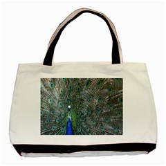 Peacock Four Spot Feather Bird Basic Tote Bag