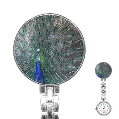 Peacock Four Spot Feather Bird Stainless Steel Nurses Watch