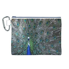 Peacock Four Spot Feather Bird Canvas Cosmetic Bag (L)