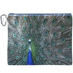 Peacock Four Spot Feather Bird Canvas Cosmetic Bag (XXXL)
