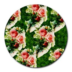 Floral Collage Round Mousepads