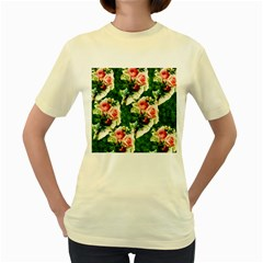 Floral Collage Women s Yellow T-Shirt