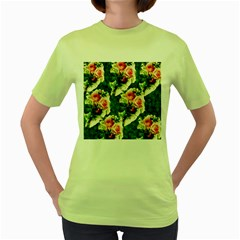 Floral Collage Women s Green T-Shirt