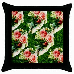 Floral Collage Throw Pillow Case (Black)