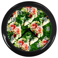 Floral Collage Wall Clocks (Black)