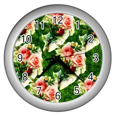 Floral Collage Wall Clocks (Silver)