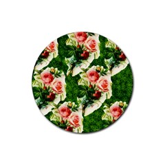 Floral Collage Rubber Coaster (round)