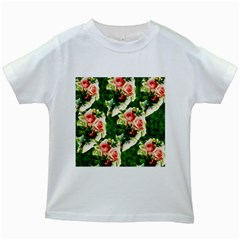 Floral Collage Kids White T-Shirts