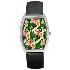 Floral Collage Barrel Style Metal Watch