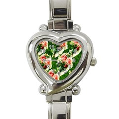 Floral Collage Heart Italian Charm Watch