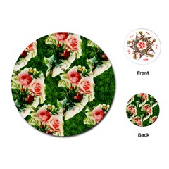 Floral Collage Playing Cards (Round)