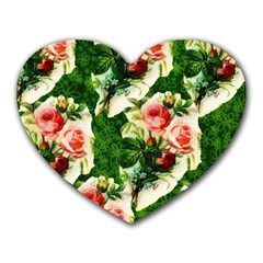 Floral Collage Heart Mousepads