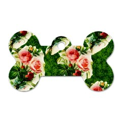 Floral Collage Dog Tag Bone (One Side)