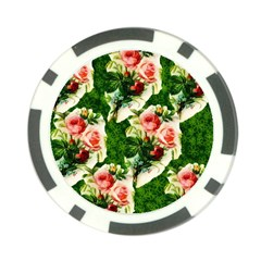 Floral Collage Poker Chip Card Guard