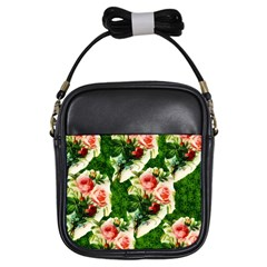 Floral Collage Girls Sling Bags