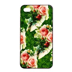 Floral Collage Apple iPhone 4/4s Seamless Case (Black)