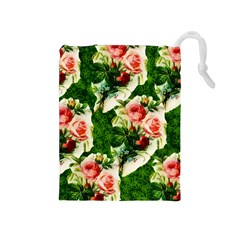 Floral Collage Drawstring Pouches (Medium)