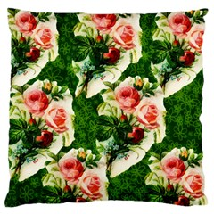 Floral Collage Large Flano Cushion Case (One Side)
