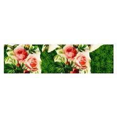 Floral Collage Satin Scarf (Oblong)